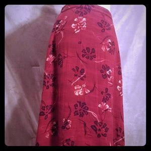Dark Red Floral Long Maxi Skirt Small